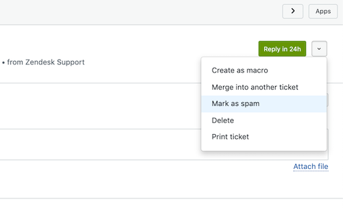 Zendesk Mark as Spam