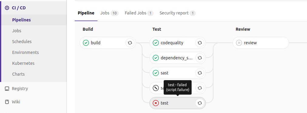 Easily get failure reasons for CI/CD jobs