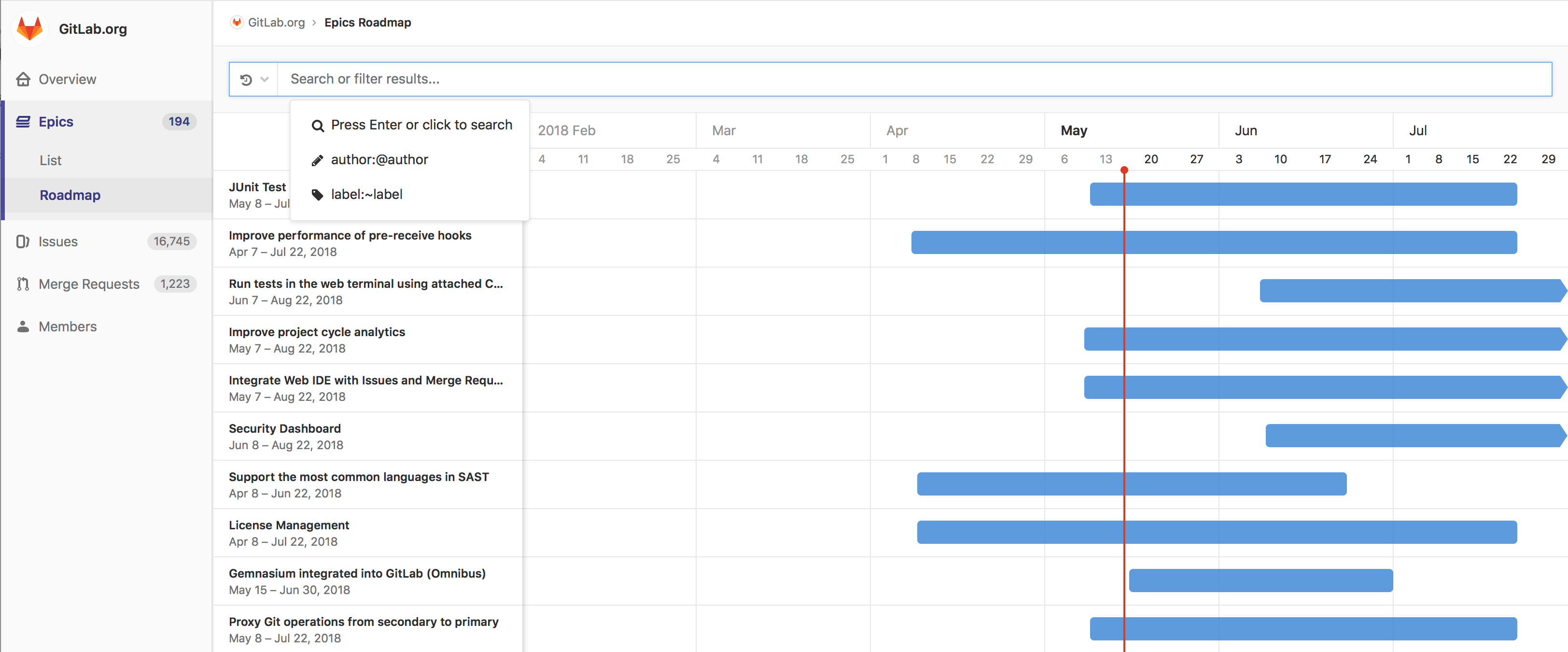 Epic roadmap search and filter bar