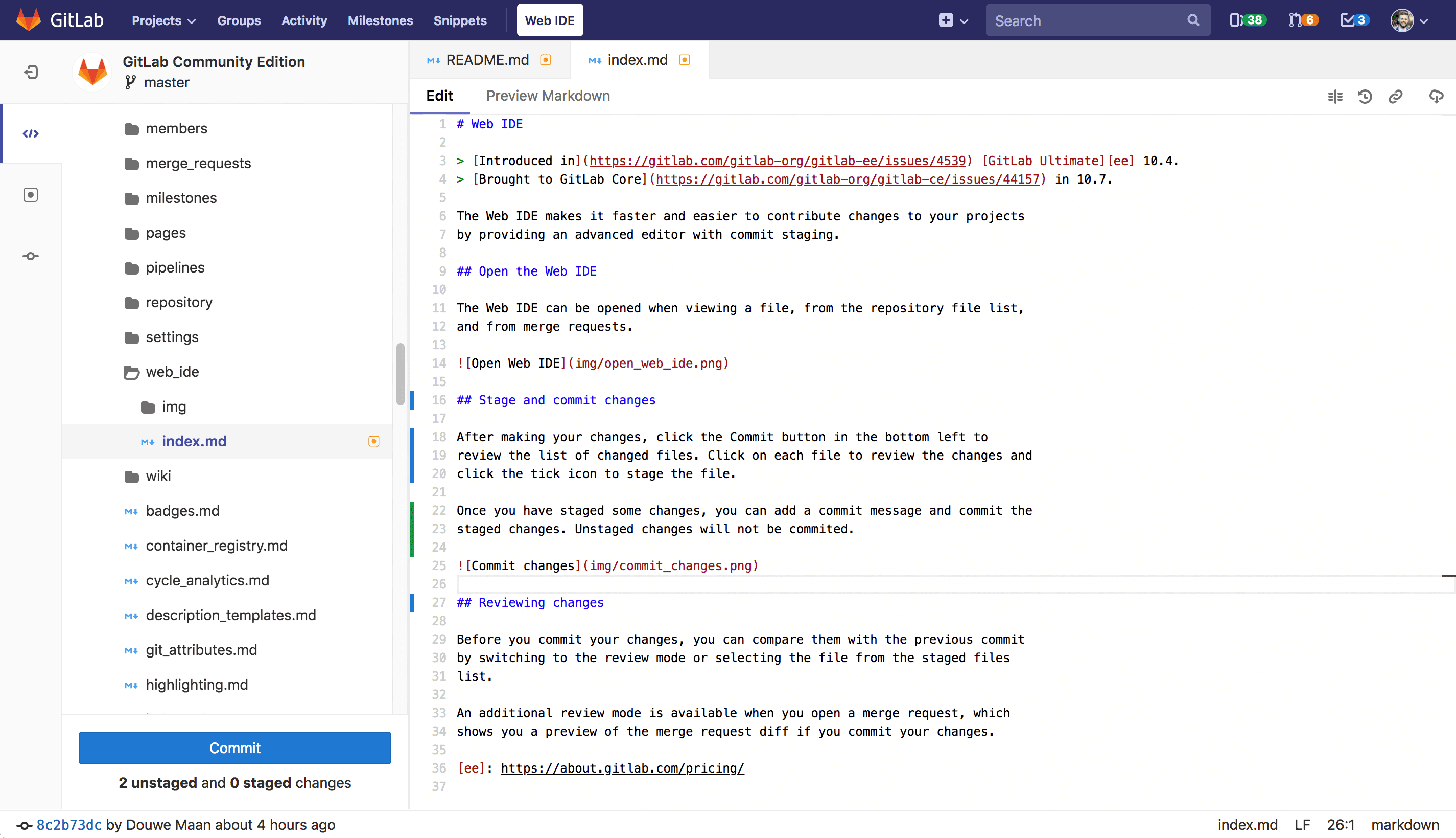 Stage and commit by file in the Web IDE