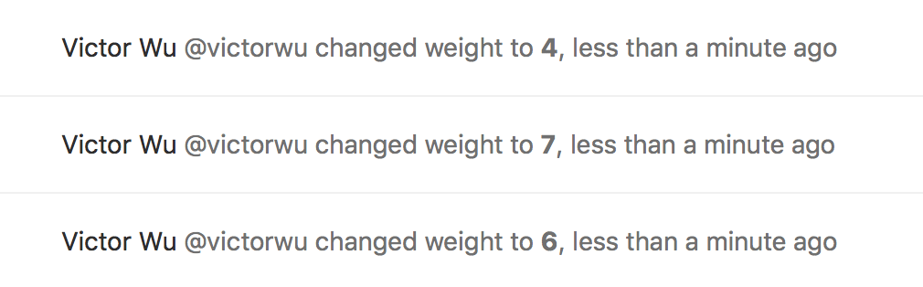 System note for adding issue weight