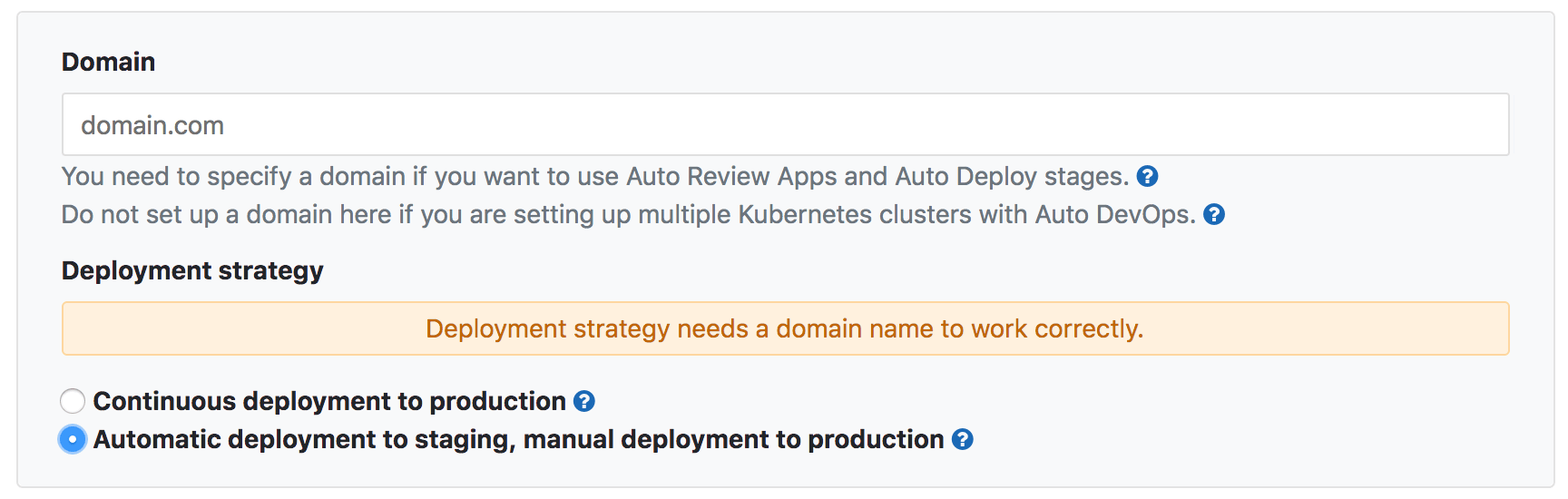 Specify deployment strategy from Auto DevOps settings