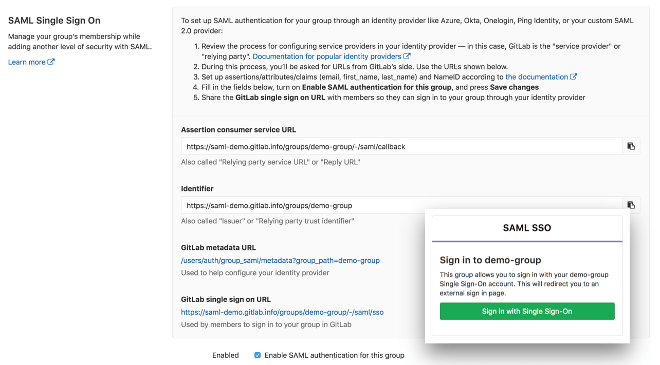 SAML single sign-on for Groups (Beta)