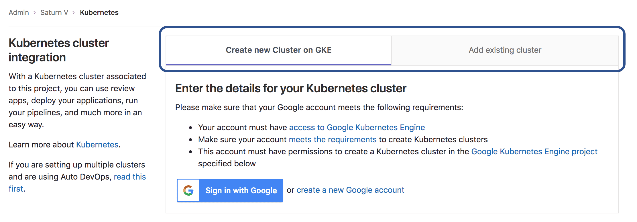 Improved Kubernetes Cluster page design