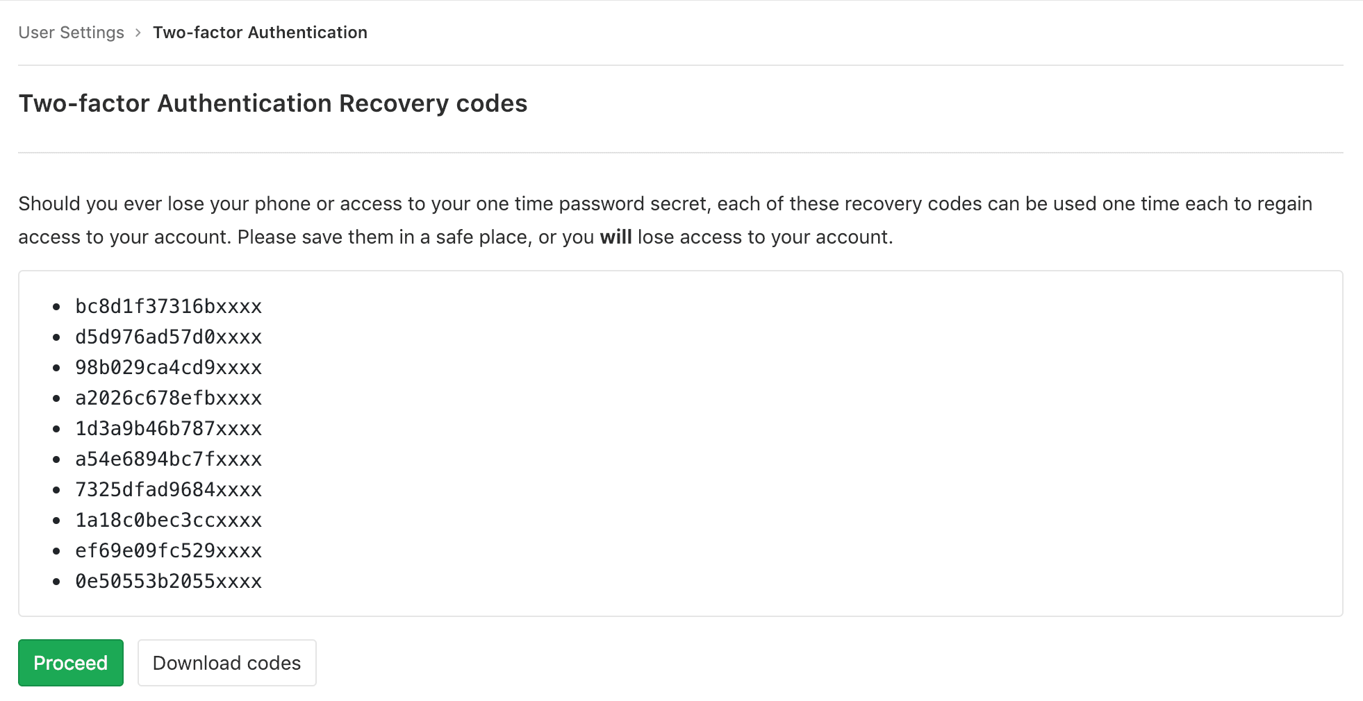 Download two-factor recovery codes