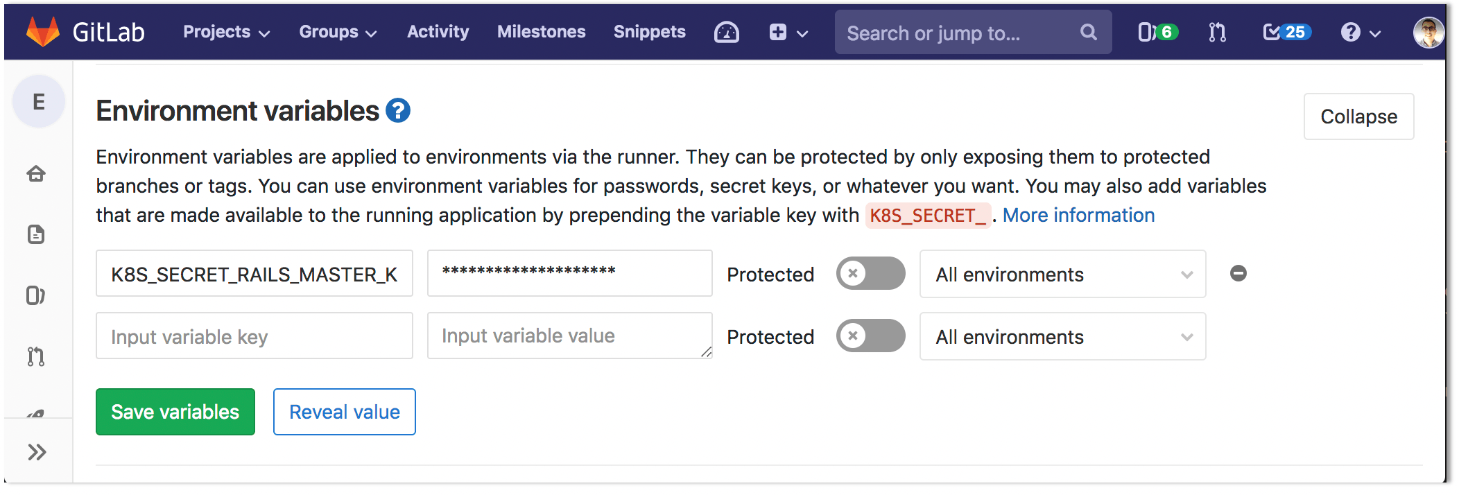 Configure Kubernetes app secrets as variables for Auto DevOps pipelines