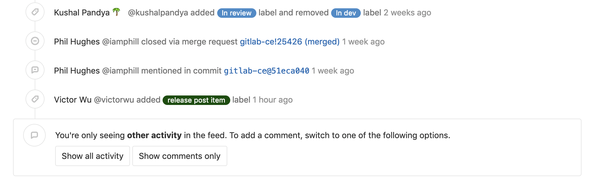 Quickly comment when filtering issue activity