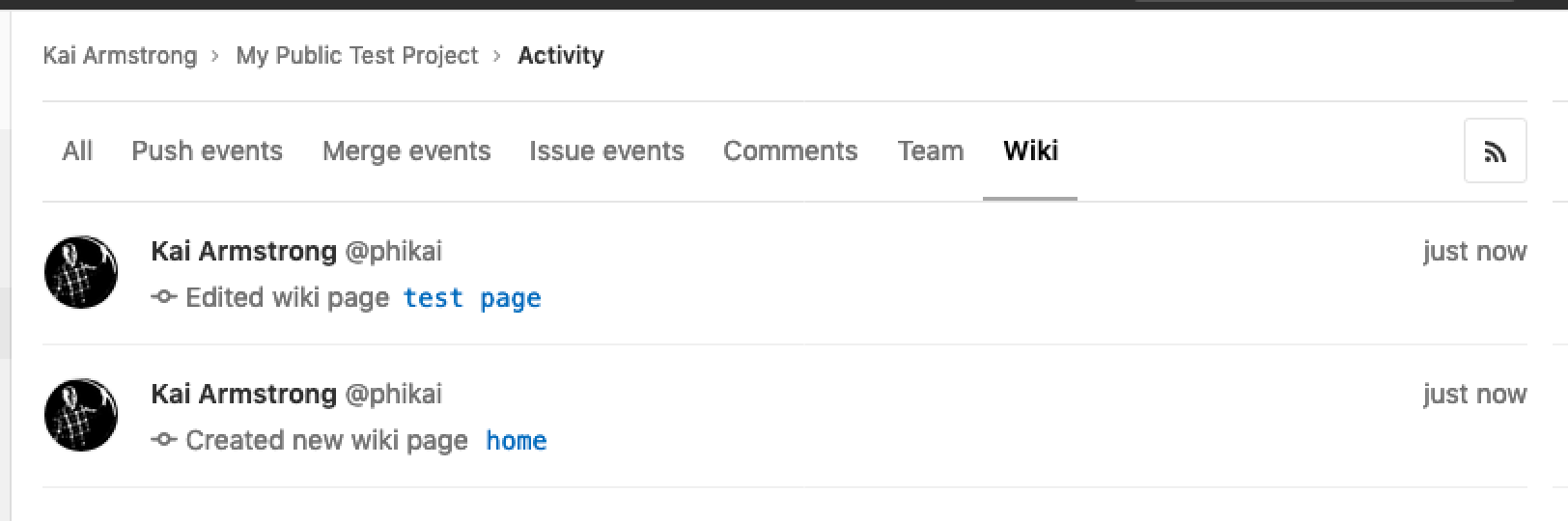 Tracking Wiki activity