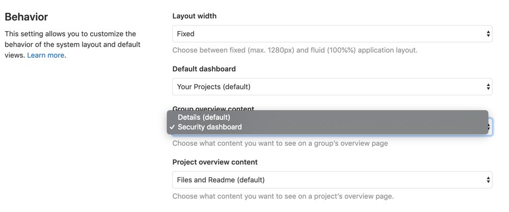 Security Dashboard as default view for groups