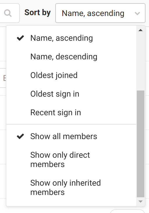 Filter members list for users with direct membership