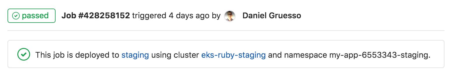 Display Kubernetes namespace on the job page