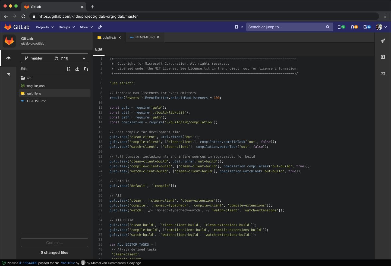 Dark Theme in the Web IDE