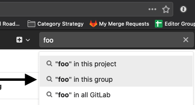 Search in a group from a project in the search box dropdown