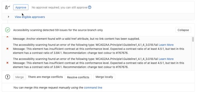 Accessibility Testing Merge Request Widget