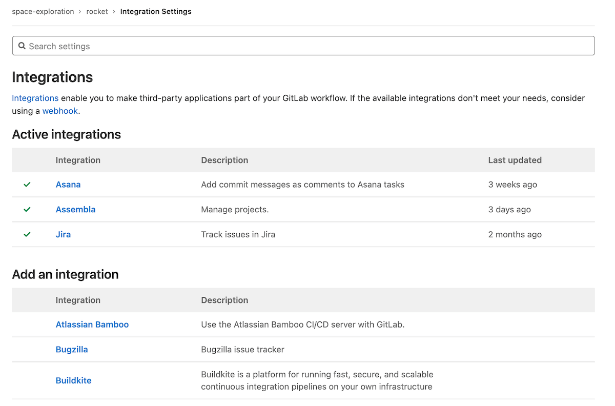 Active integrations now display separately