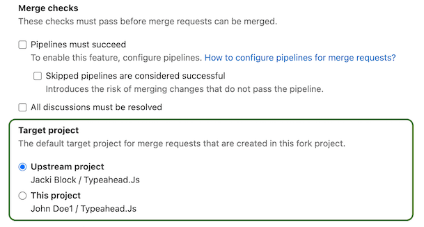 Set default target project for merge requests in forks