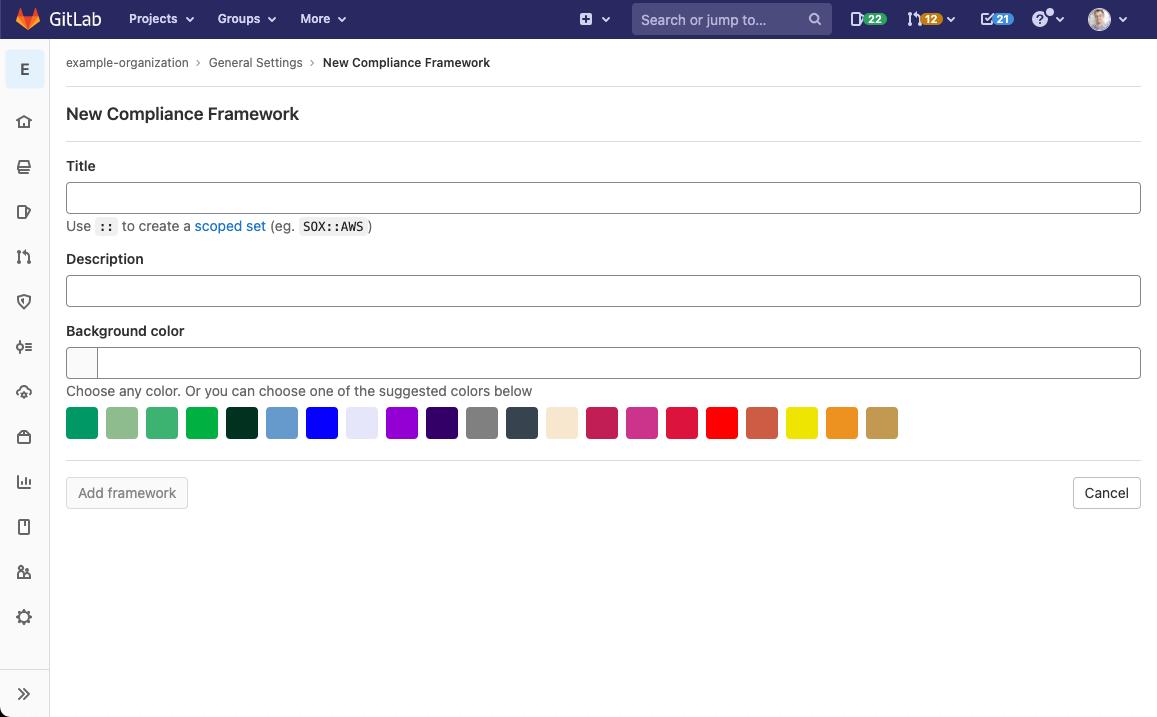 Create custom compliance framework labels