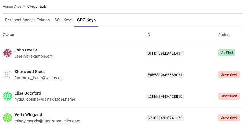 GPG keys available in the admin Credential Inventory