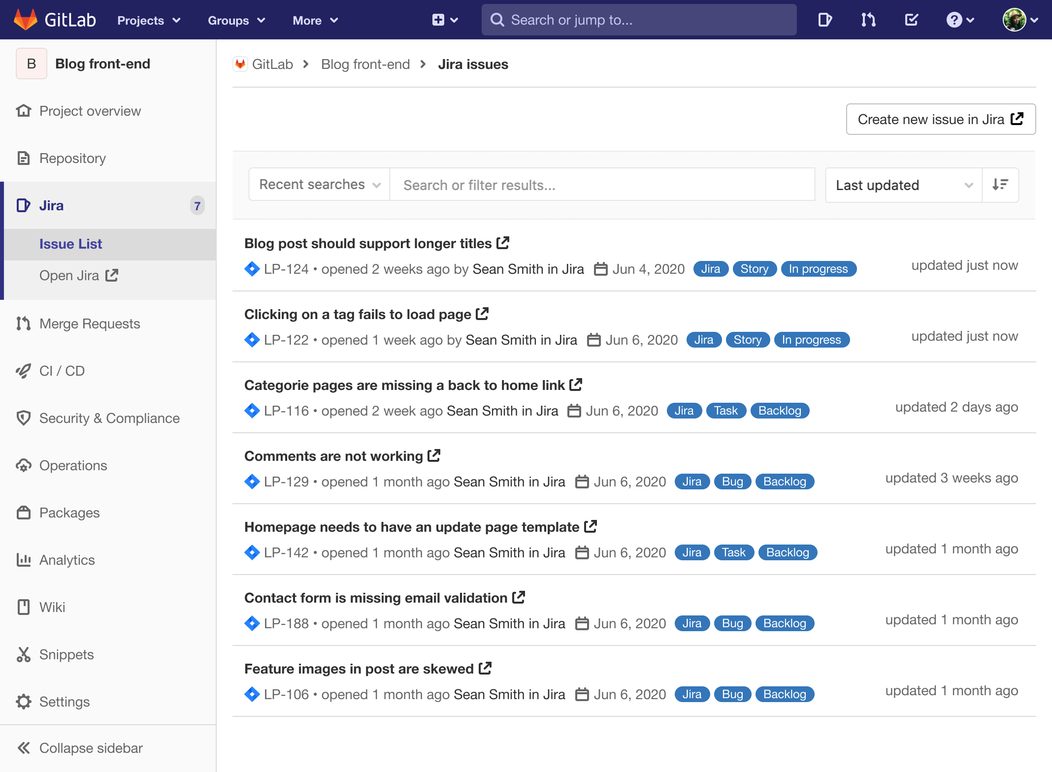 View Jira issue list in GitLab