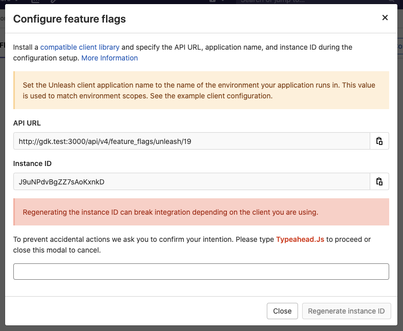 Confirmation dialog before regenerating Feature Flag instance ID