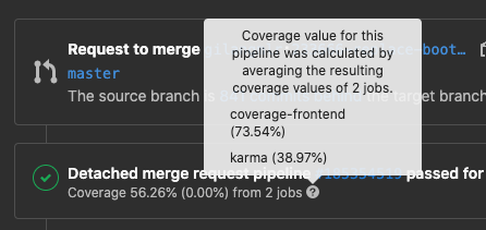 Show job data for Code Coverage value in MR
