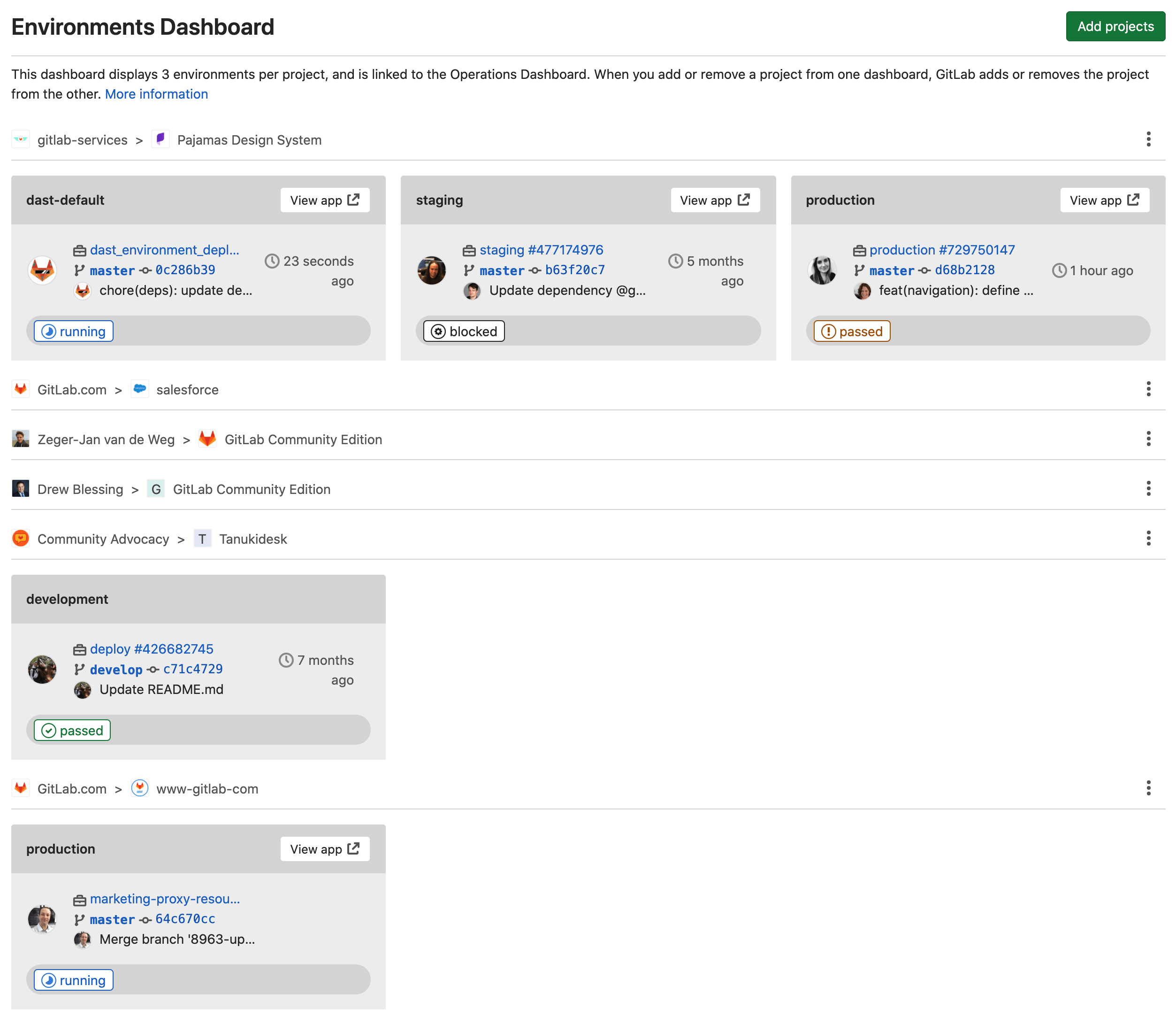 Track environments at scale with the Environments Dashboard