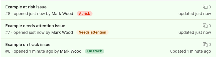 Track issue health status from the issue list