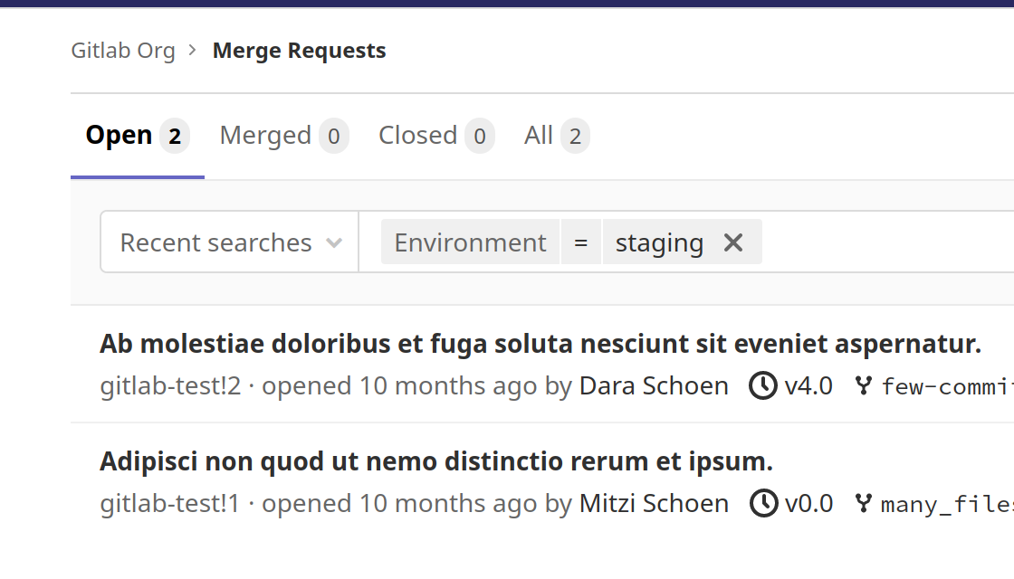 Filter Merge Requests by environment and deployment times