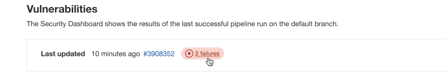 Pipeline status in Project Security Dashboard