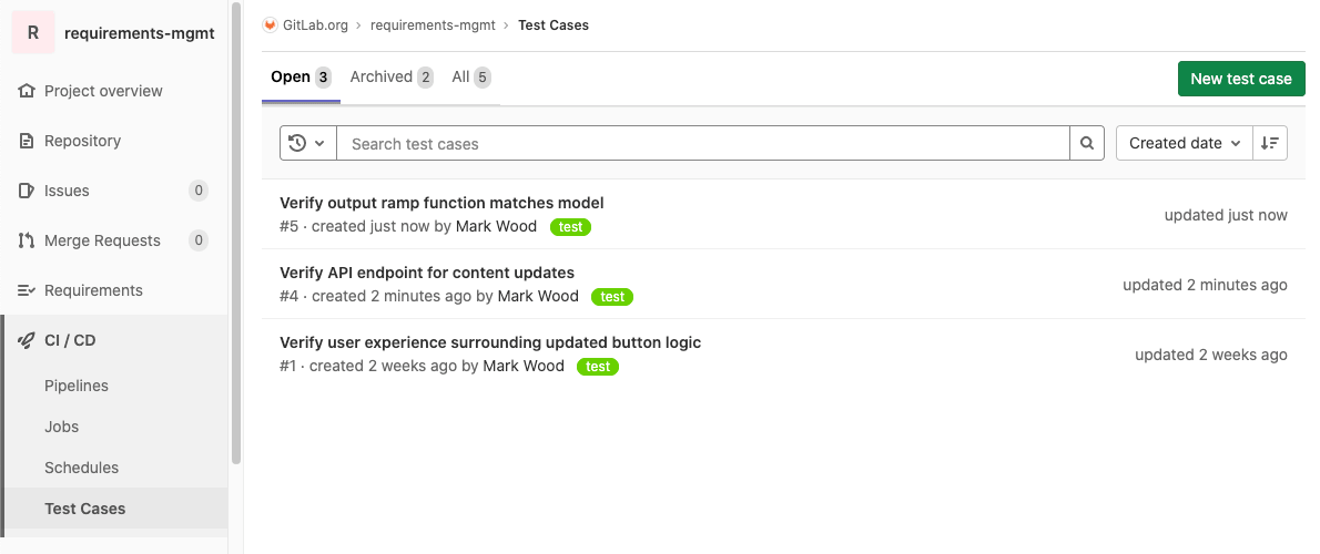 Define test cases in GitLab