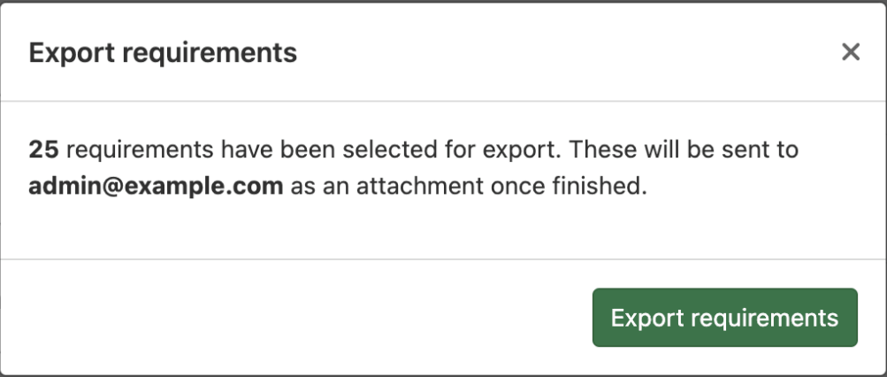 Export requirements to a CSV file