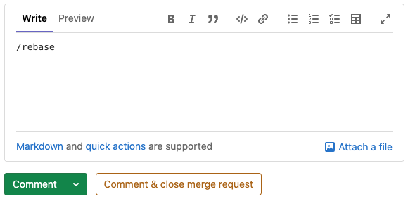 Rebase quick action for merge requests