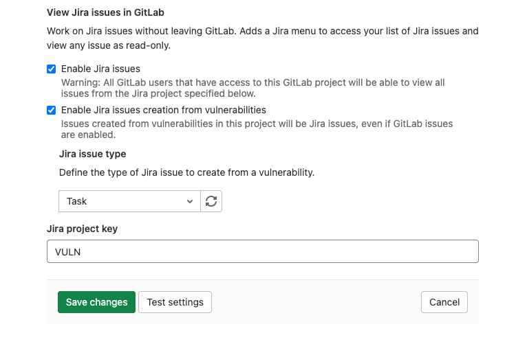 Create Jira issues from Vulnerabilities