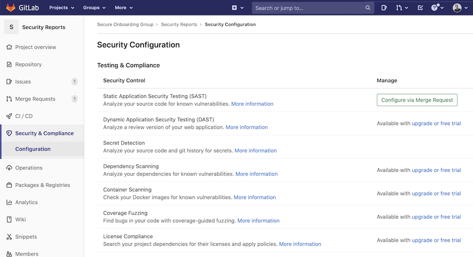Security Configuration page for all users