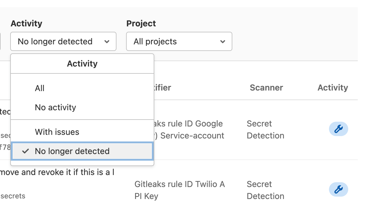 Vulnerability Report Activity filter