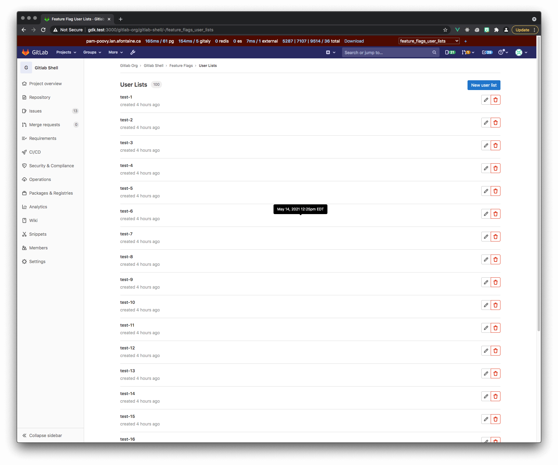 Feature Flags User List is now on its own page