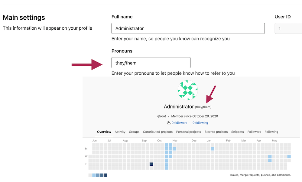 Set pronouns on GitLab user profiles