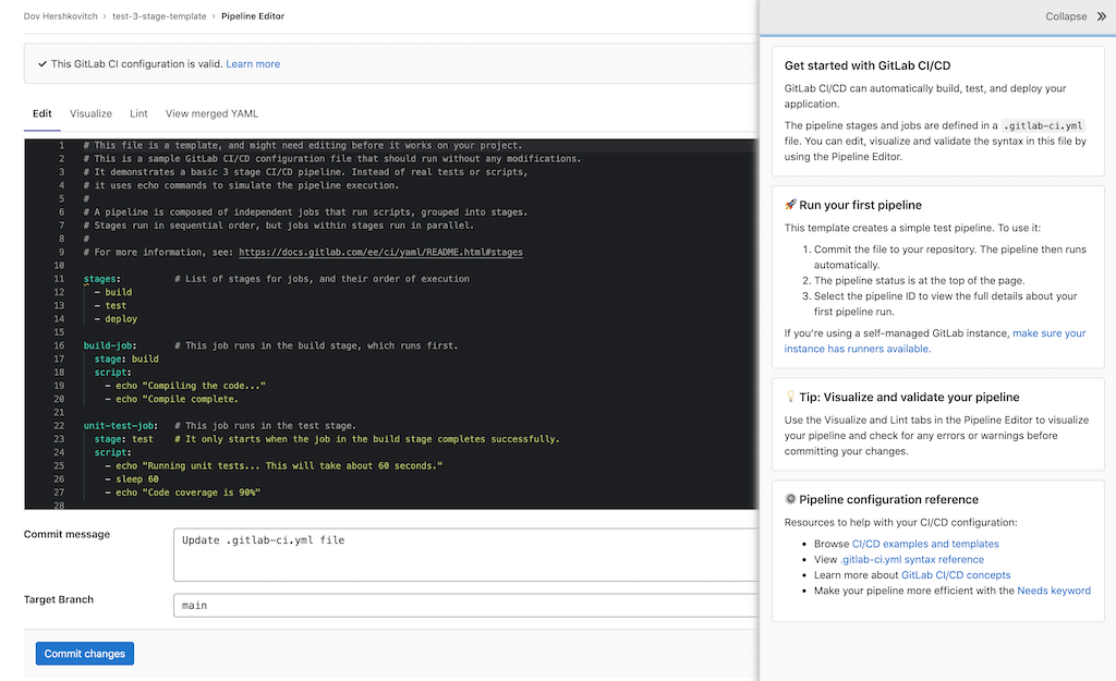 Prepopulate the CI/CD pipeline editor with an initial template