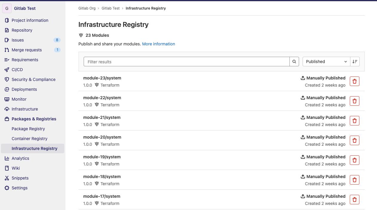 Terraform module registry built into GitLab