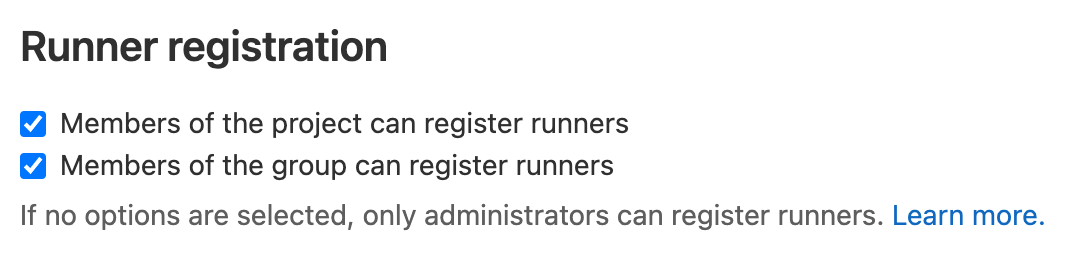 Limit runner registration for groups and projects