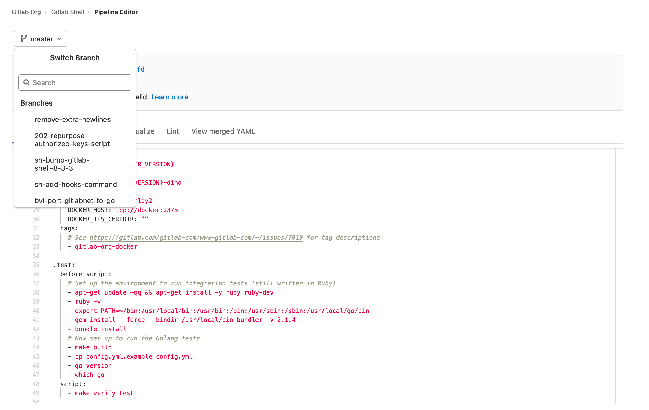 Work from branches in the Pipeline Editor