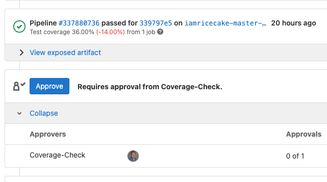 Code coverage merge request approval rule
