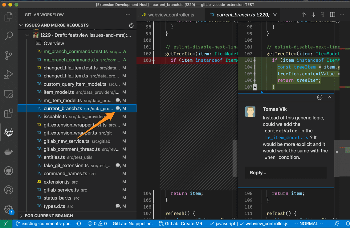 Comments indicator for merge request reviews in VS Code
