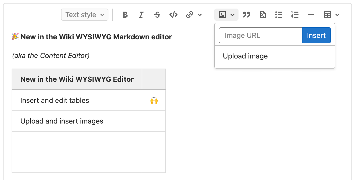 Create tables and upload images in the Wiki Content Editor