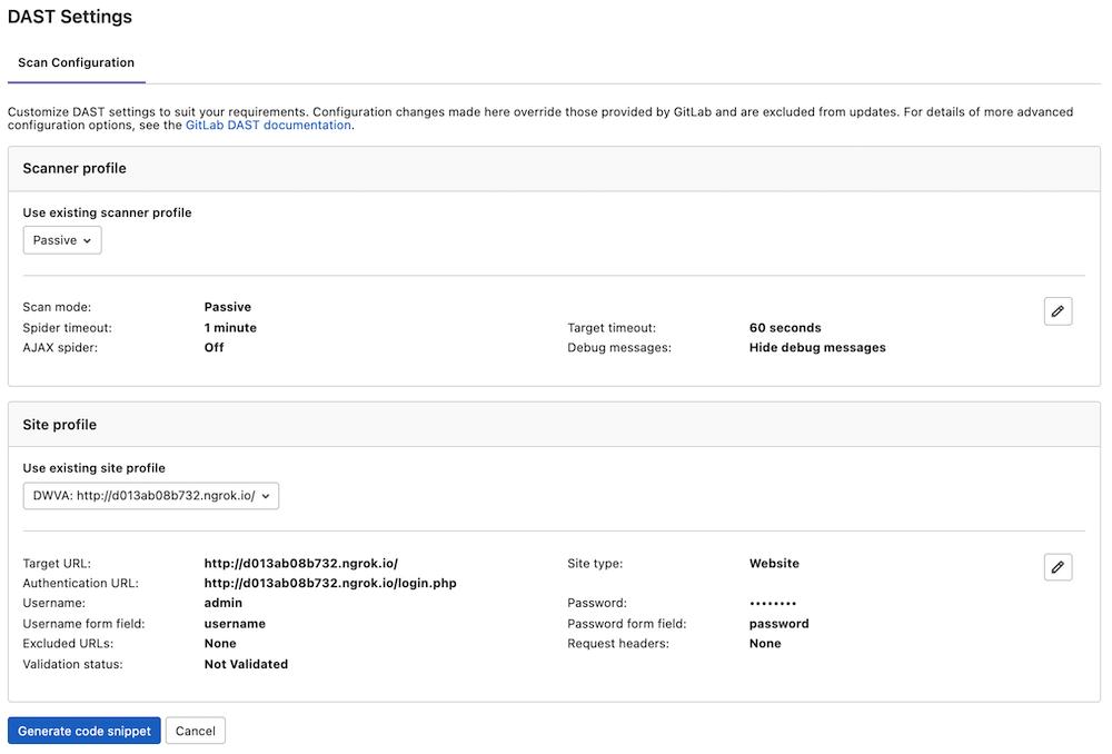DAST UI configuration experience