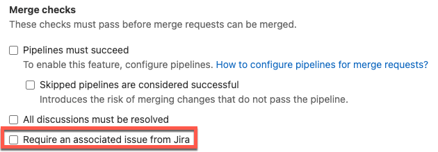 Require a Jira issue to be linked to an MR