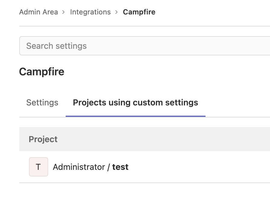 View projects that use custom integration settings