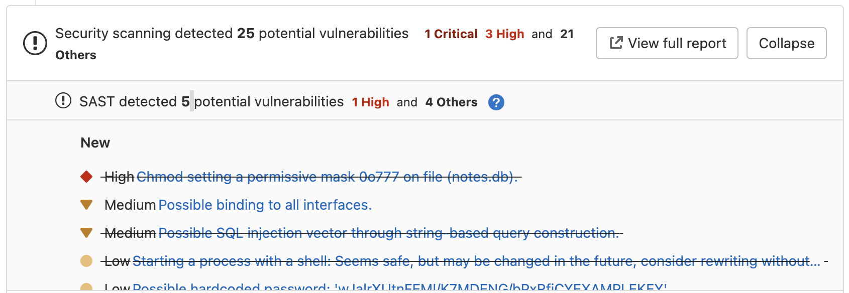 Improved vulnerability tracking for GoSec, Semgrep, and Brakeman analyzers