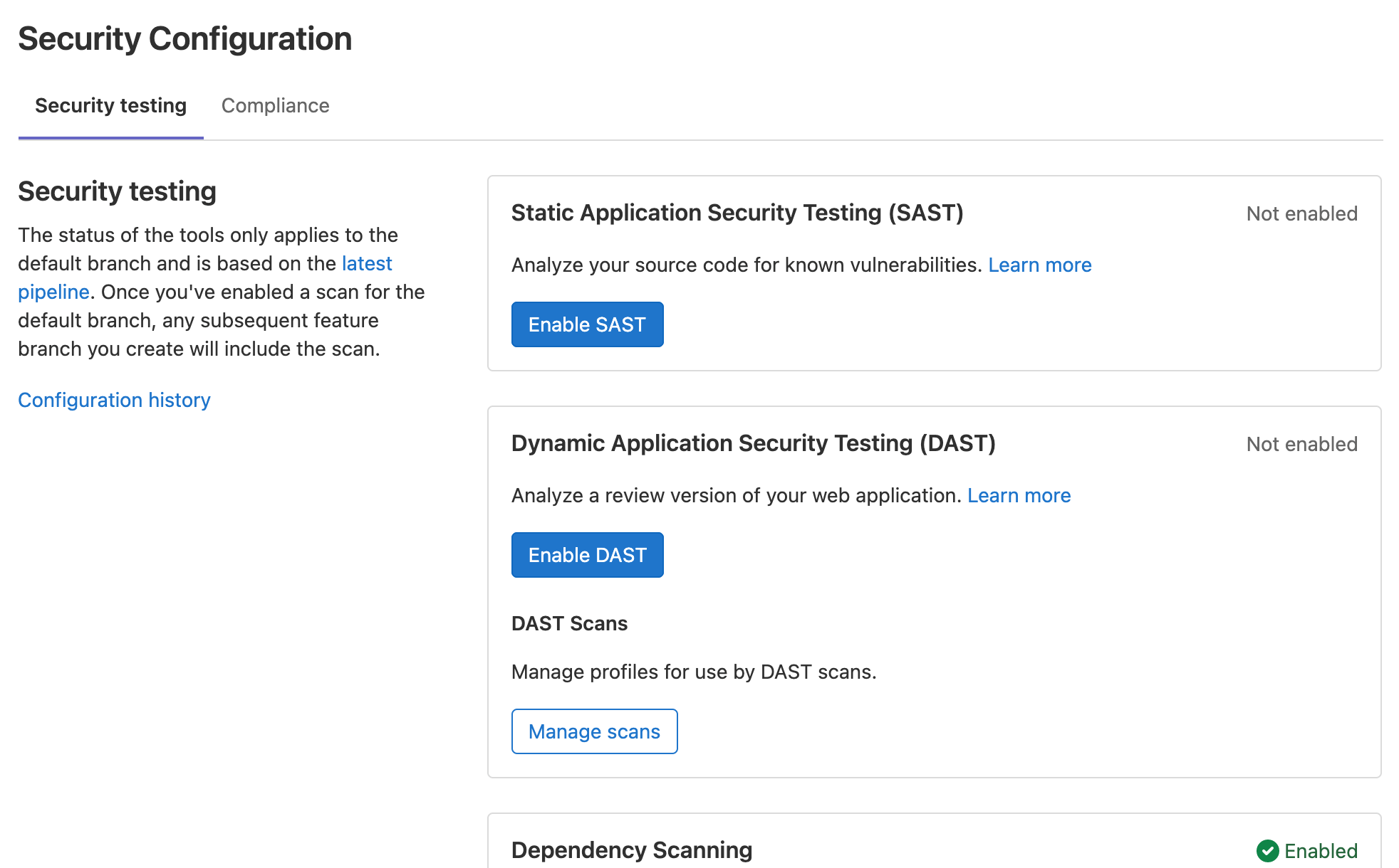 Improved usability of Security & Compliance Configuration page