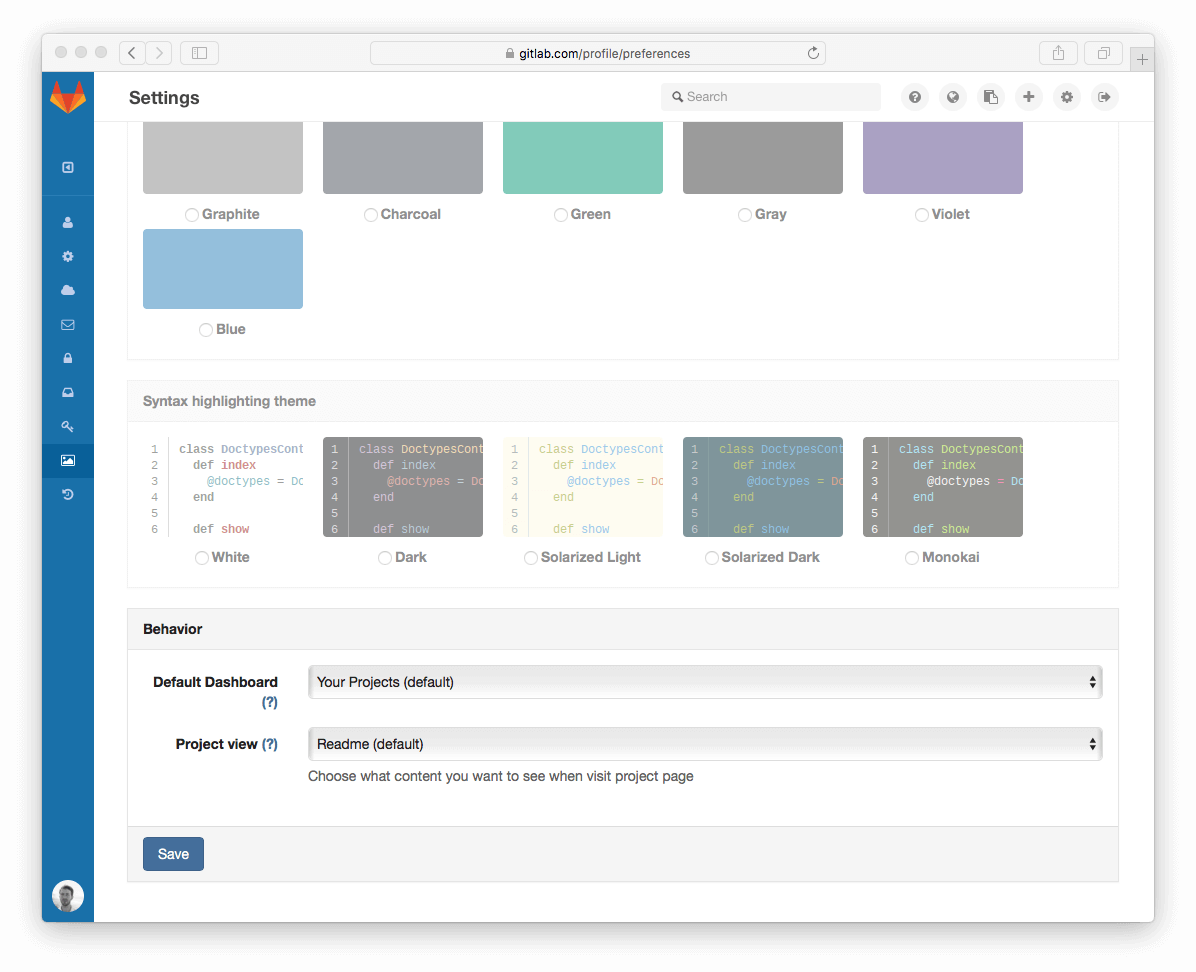 Project Dashboard configuration